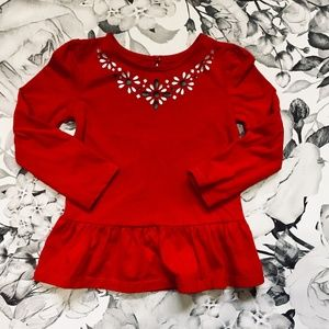 Red Skirted Shirt with Nordic Necklace Pattern